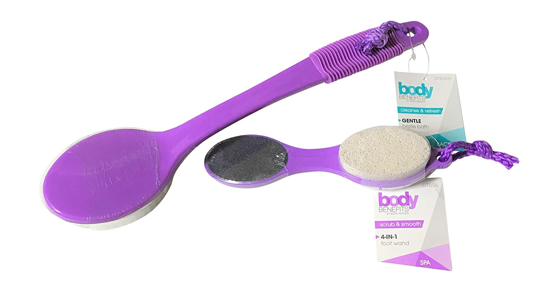 Bath Brush Plus Foot Brush Long Reach w/Pumice Set by Body Benefits For Dry (or Wet) Skin Body Exfoliating (Purple)