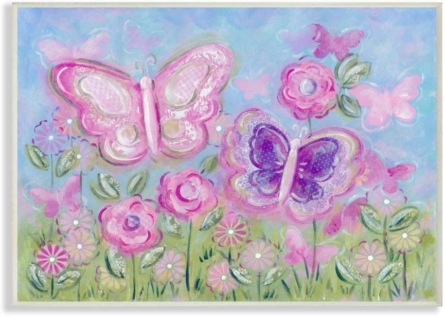 The Kids Room by Stupell Pastel Butterflies in a Garden Stretched Canvas Wall Art, 16 x 20, Multi-Color