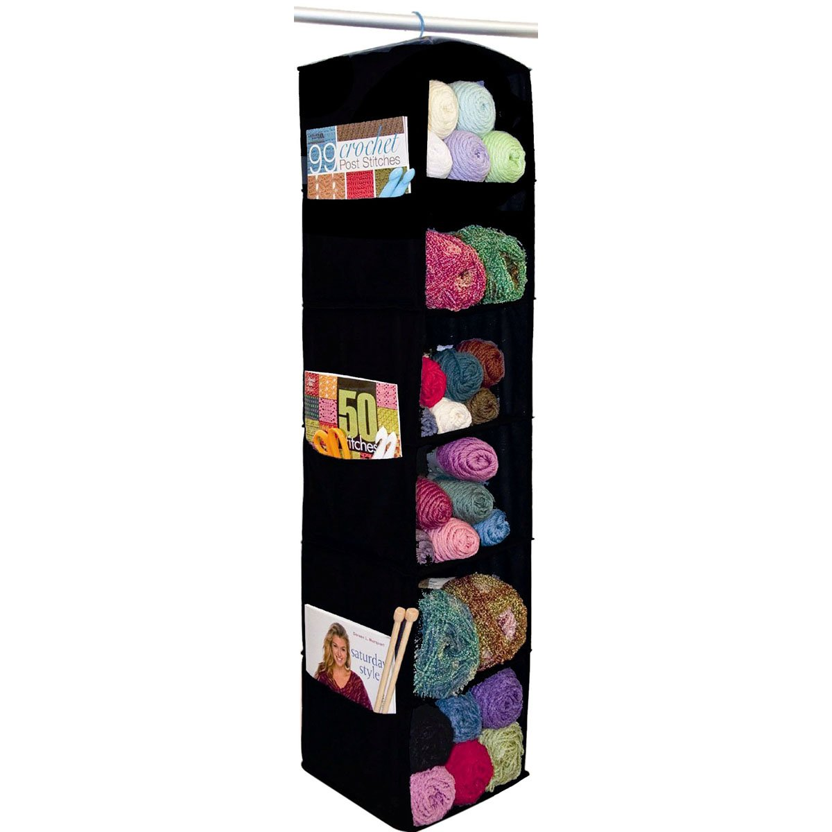 Innovative Home Creations Cottage Cuts 6-Shelf Yarn and Craft Organizer, 48 by 11 by 11-Inch, Black 4850-BLK