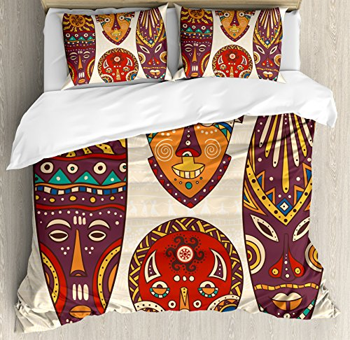 (Ambesonne Tiki Bar Decor Duvet Cover Set Queen Size, Decorative Mask Designs African Aborigine Art Patterns Cultural Ethnic Print, Decorative 3 Piece Bedding Set with 2 Pillow Shams, Multicolor)