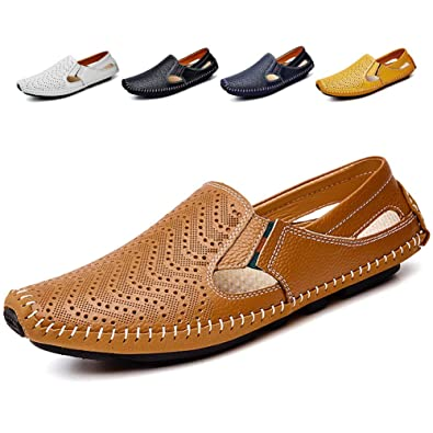 bdeb3b506 Noblespirit Men s Driving Shoes Leather Fashion Slipper Casual Slip on Loafers  Shoes in Summer Mens Mules
