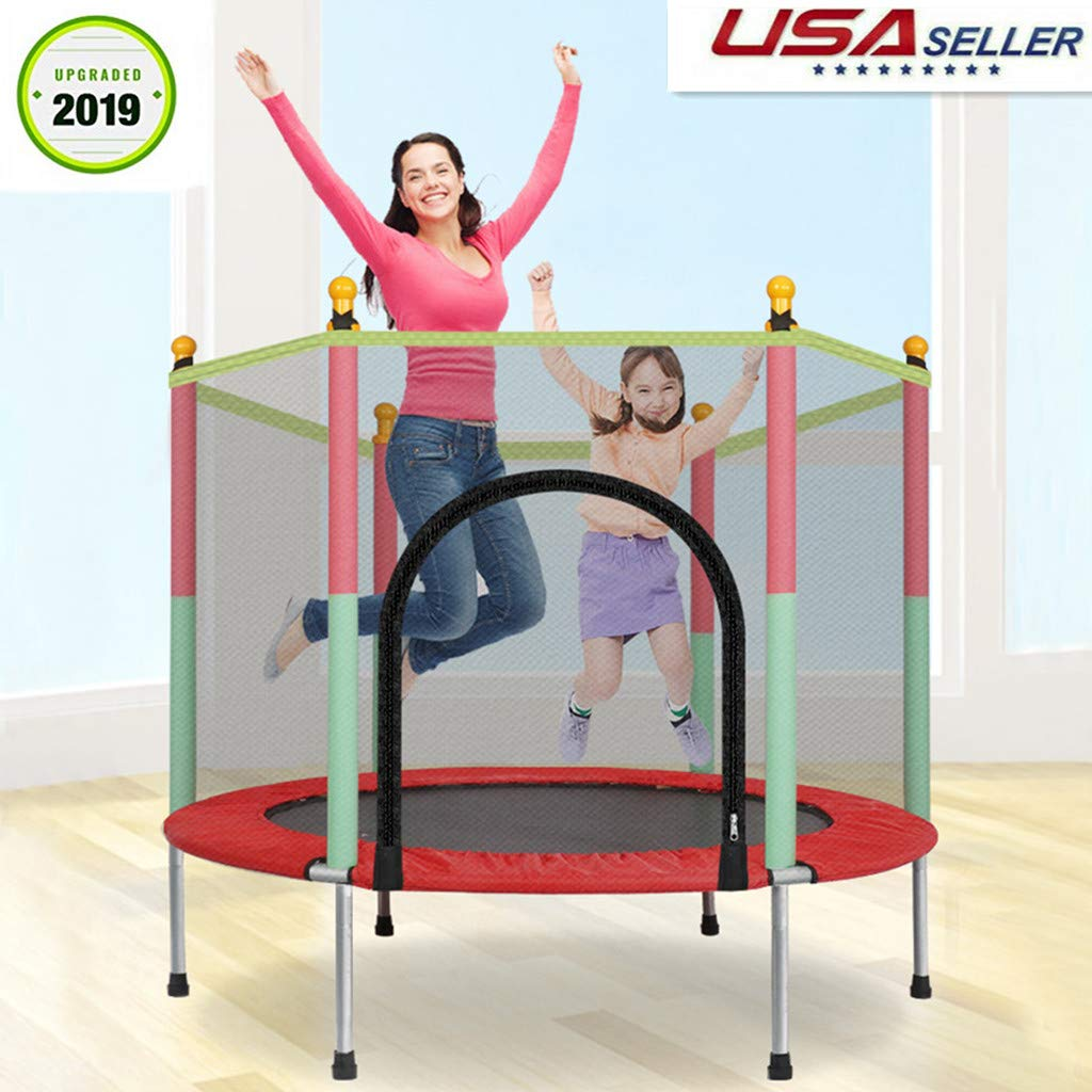 Snowfoller Indoor/Outdoor Small Trampoline for Kids 5 Feet with Enclosure Net, Upgraded Heavy Duty Toddler Trampoline Jumping Mat, 400Lb Loading, 36 Springs - US-Made