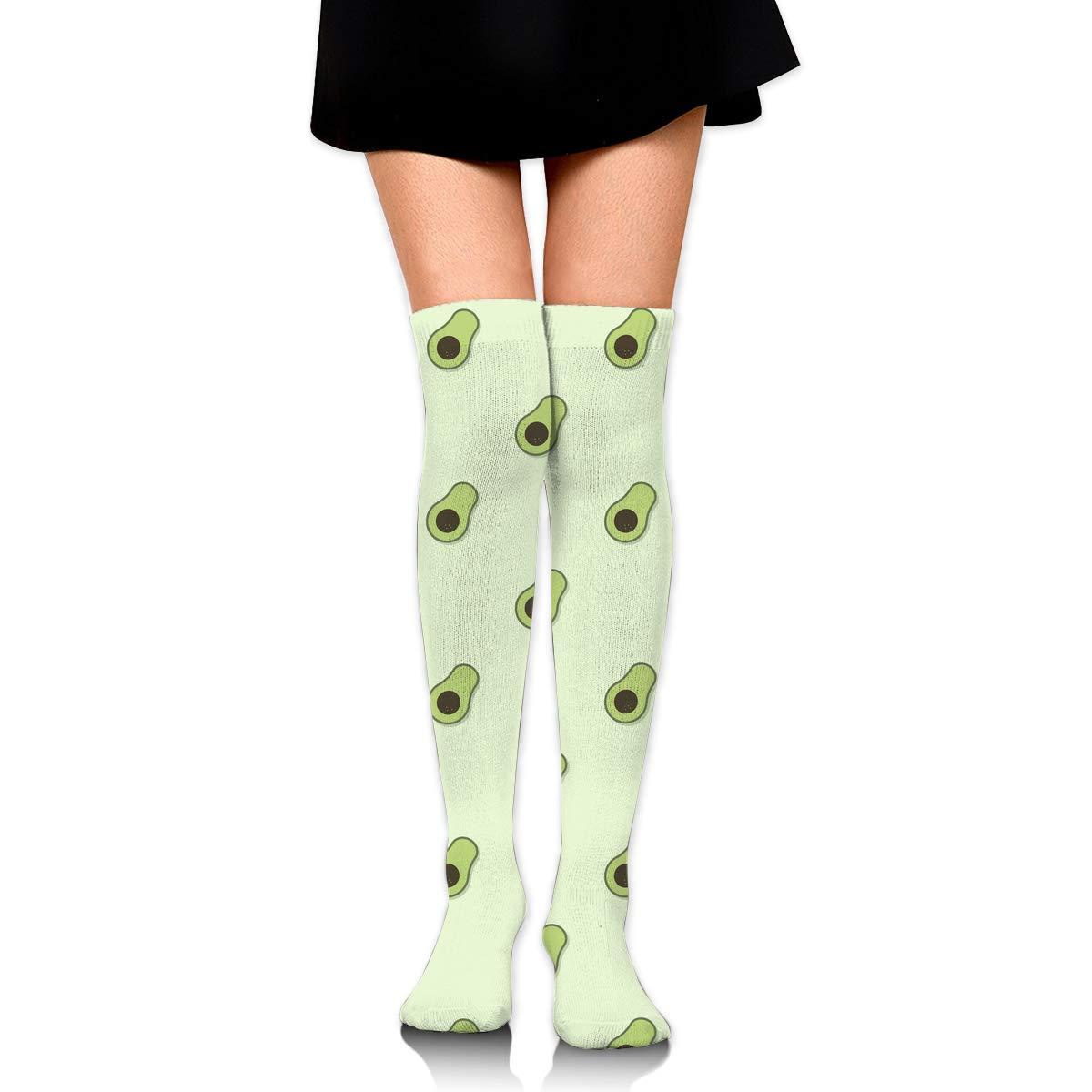 One Size Girls Womens Avocado Pattern Bonsai Over Knee Thigh High Stockings Fashion Socks