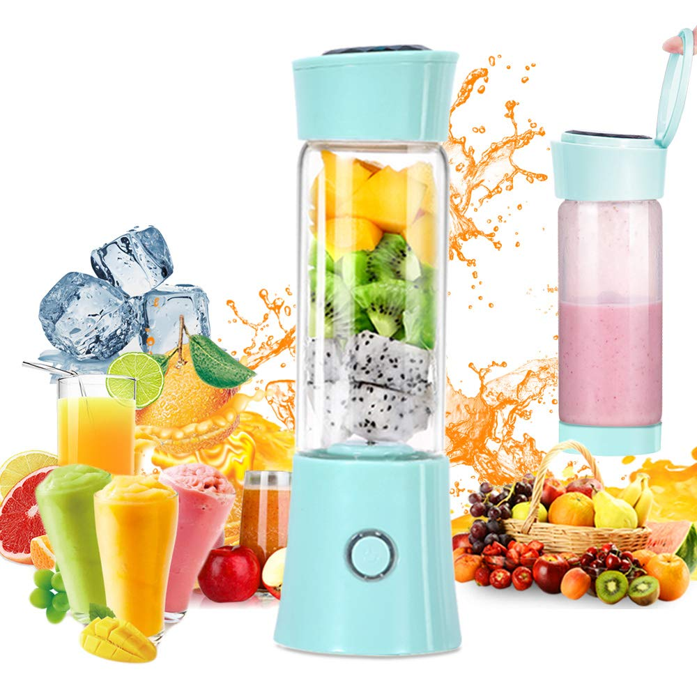 Portable Blender,USB Rechargeable Personal Smoothie Blender Mini Juicer Cup 480ML Fruit Juice Mixer Small Travel Blender for Shakes and Smoothies with Stainless Steel 6-Blades, FDA BPA Free (blue)