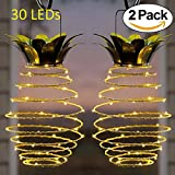 Adecorty Solar Lights Pineapple, Hanging Solar Lanterns 2 Pack 30 LED Solar Garden Lights Outdoor Decor Pineapple Fairy Lights Solar Patio Lights, Waterproof Solar String Lights for Patio Yard Decor For Sale
