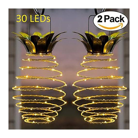 Adecorty Solar Lights Pineapple, Hanging Solar Lanterns 2 Pack 30 LED Solar Garden Lights Outdoor Decor Pineapple Fairy Lights Solar Patio Lights, Waterproof Solar String Lights for Patio Yard Decor -  - patio, outdoor-lights, outdoor-decor - 61 FxBsgDzL. SS570  -