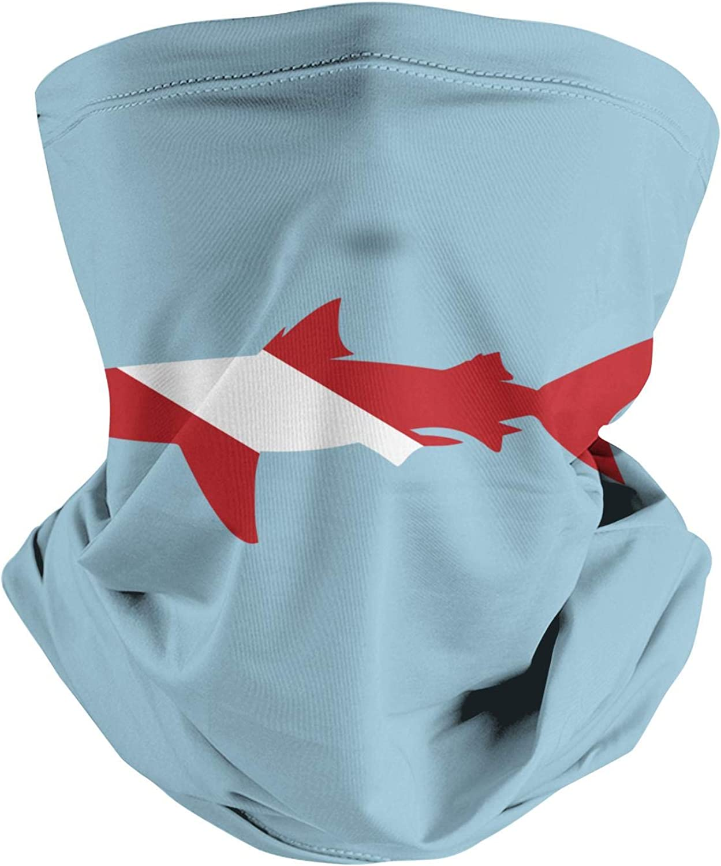 Elasmobranch Fish Big Shark Bite Design Retro Seamless Face Mask Headband Scarf Neck Gaiter Balaclava for Dust Outdoor Sports