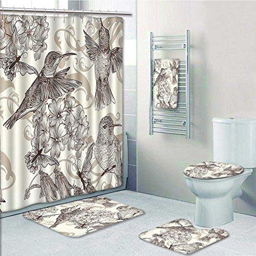 Aolankaili Designer Bath Polyester 5 Piece Bathroom SetBirds And Monochromic Classical Design Nostalgia