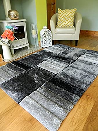 New Modern Black Silver Grey Blocks Lines Thick Heavy Silky Soft
