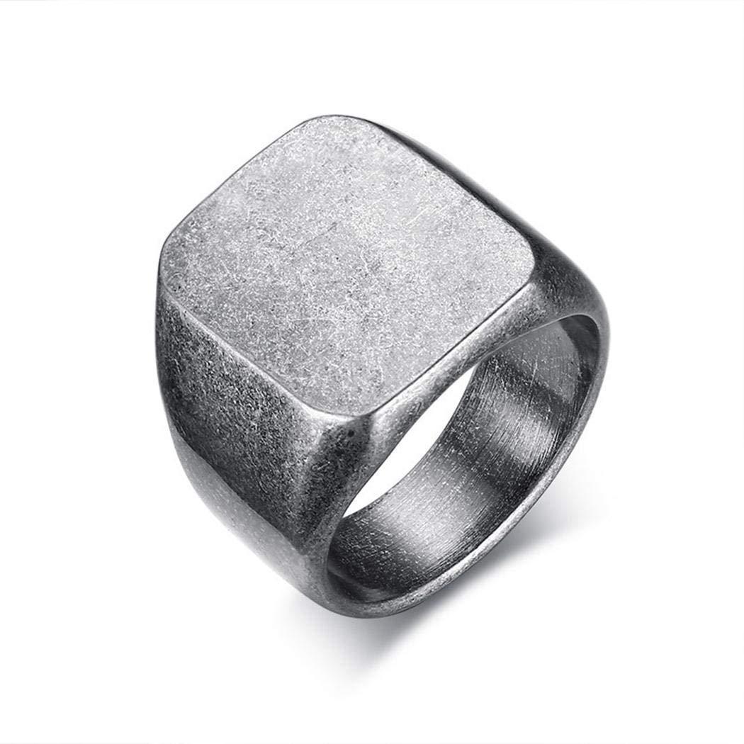 Fashion Stainless Steel Jewelry JEWURA Biker Ring Vintage Grey Square