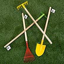 Hey!Play! 80-PP-GT Kid Garden Tool Set with Child Safe Shovel Hoe and Leaf Rake 4 Piece Kit with Long Wood Handles for Boys and Girls, Red/Yellow