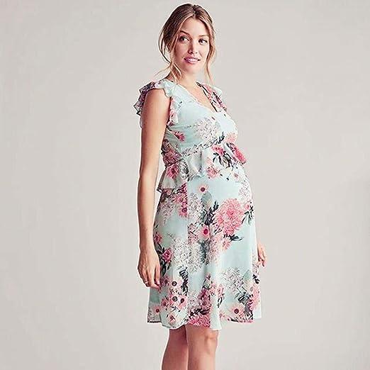 BBsmile Ropa premamá Madre de Mujer Floral Falbala Embarazada Vestido de Volantes sin Mangas Ropa de Maternidad: Amazon.es: Ropa y accesorios