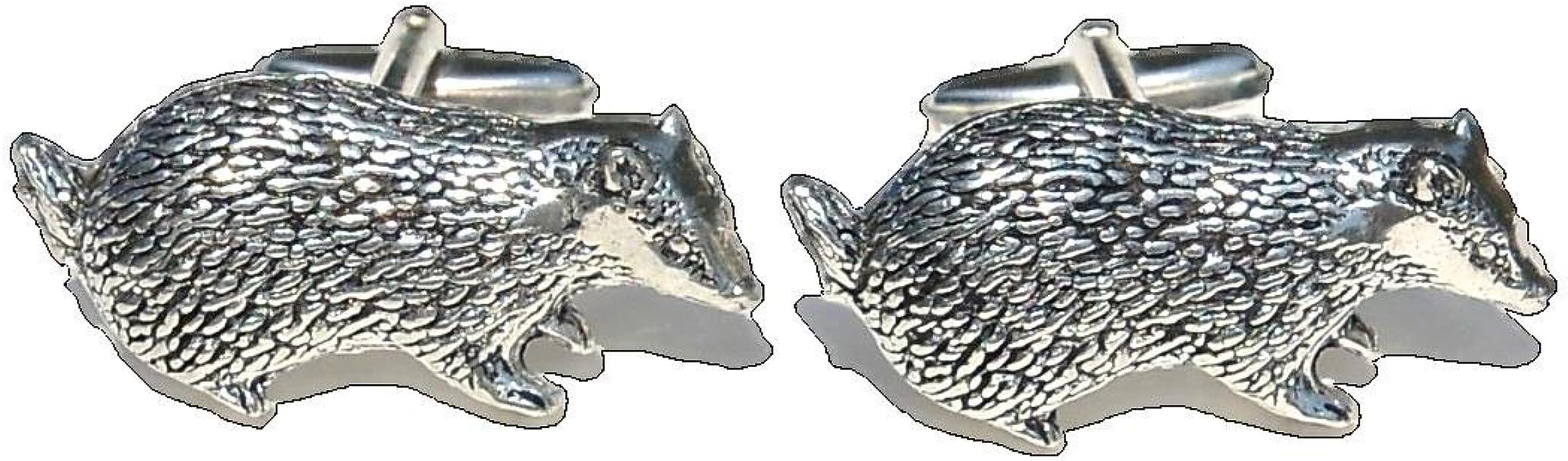 Badgers Cufflinks Antiqued Silver Pewter Cufflinks