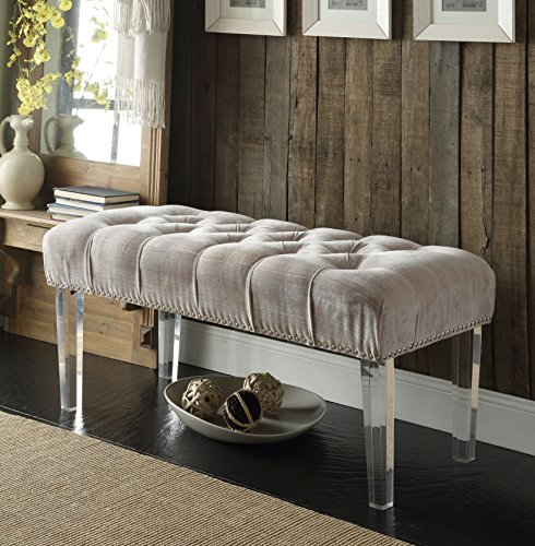 Iconic Home Odette Modern Button Tufted Beige Velvet Acrylic Ottoman Bench