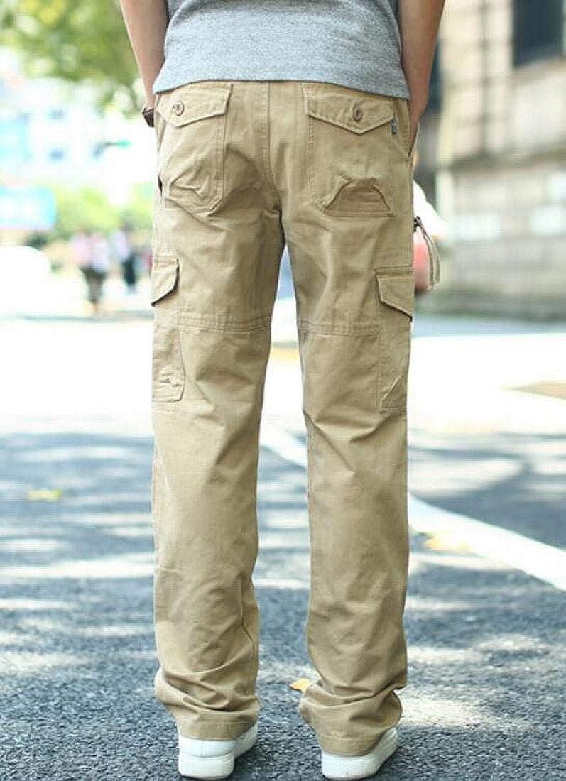 KLJR Men Straight Leg Big and Tall Cotton Cargo Pants