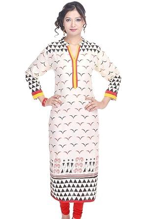 ebf77234ecb Amazon.com  Vihaan Impex Indian Kurtis for Women Kurti Kurtas for Women  Bust Size 40 Inches Multicolor Kurti Beige  Clothing