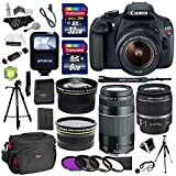 Canon EOS Rebel T5 Digital SLR Camera Body with EF-S 18-55mm IS + EF 75-300mm f/4-5.6 III + Polaroid Studio Series 58mm Wide Angle and 58mm Fixed Telephoto Lenses + 40 GB Storage + Polaroid Tripods + 3 Filters + Deluxe Bag + Extra Accessories