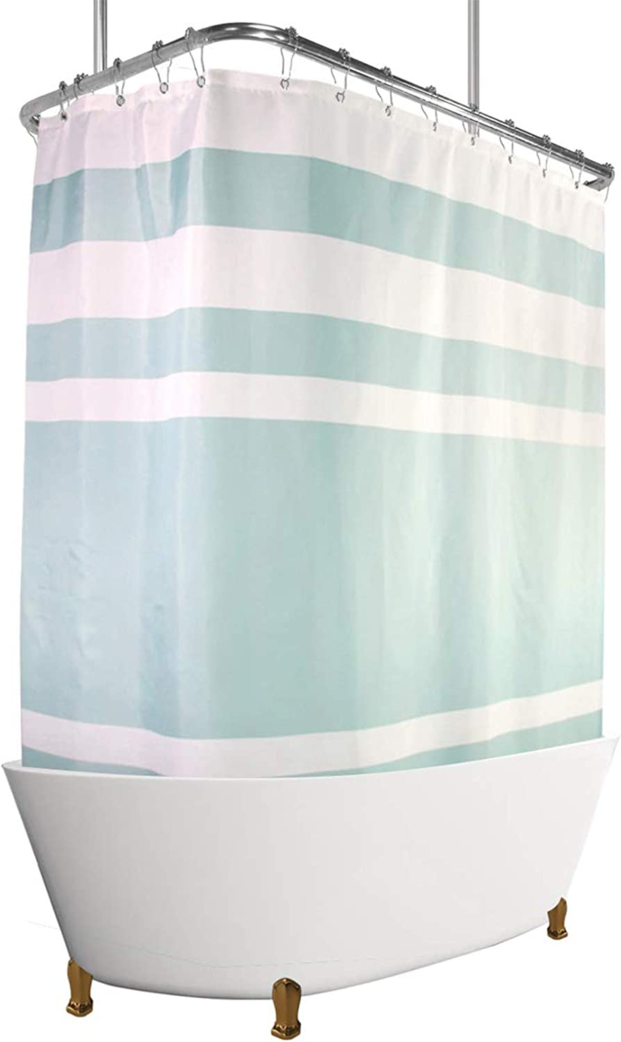 180x180cm Tub Shower Curtain Polyester with Plastic Rings Universal Stick B