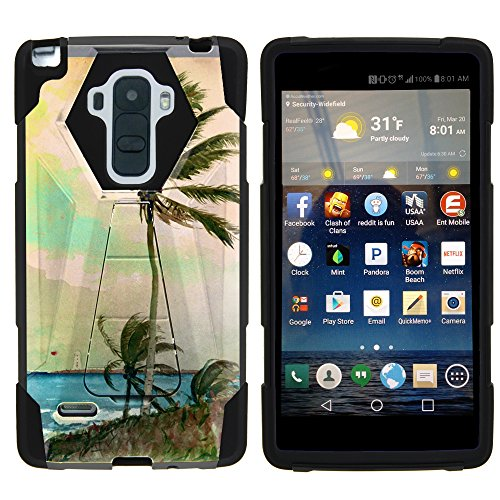 MINITURTLE Case Compatible w/ LG G Stylo LS770 Phone Case, Durable Hybrid SHOCK Impact Stand Case w/ Art Pattern Designs for LG G Stylo LS770, H631, MS631, LG G4 Stylus Palm Tree -  ns5631-21617