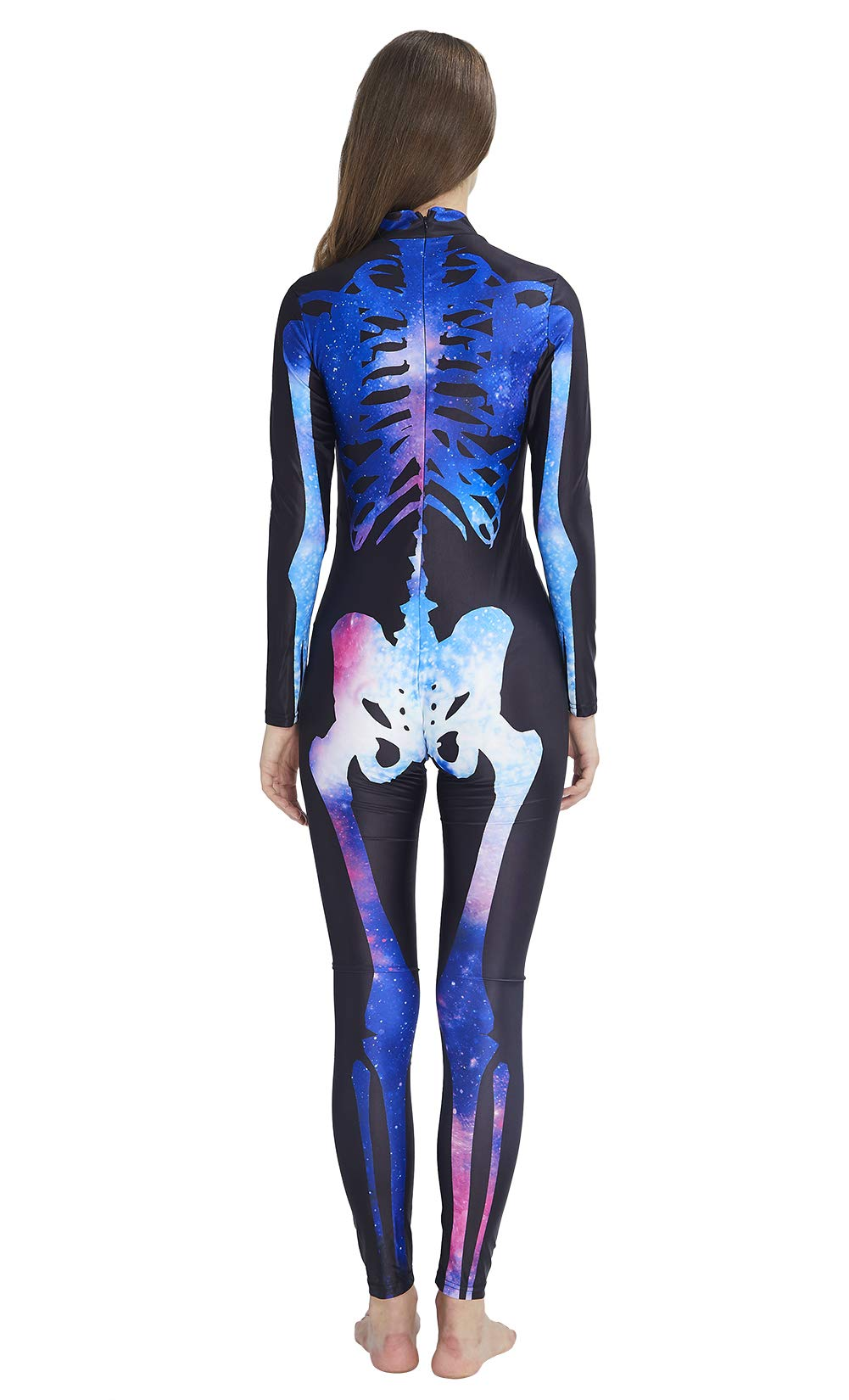RAISEVERN 3D Galaxy Starry Snazzy Zombie Hallowmas Skull Costume Novelty Cosplay Zip Up Onesies Skeleton Bodysuit Outfit Catsuit Romper Glow in The Dark