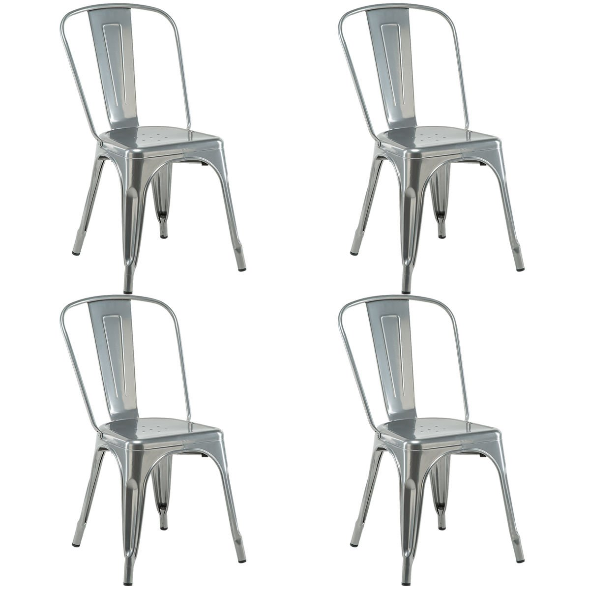 COSTWAY 4 Set of 4 Tolix Style Metal Stackable Industrial Vintage Chic High Back Indoor Outdoor Dining Bistro Caf Kitchen Side Chair Silver