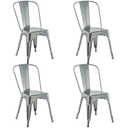 Genial Costway Tolix Style Metal Dining Chair Highback Stackable Cafe Side Chair  Set Of 4 (Silver