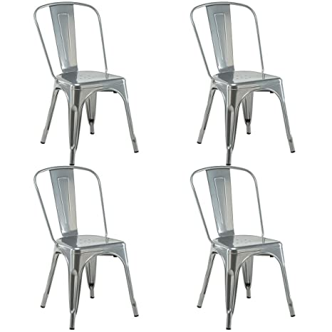 Astonishing Costway 4 Set Of 4 Tolix Style Metal Stackable Industrial Vintage Chic High Back Indoor Outdoor Dining Bistro Cafe Kitchen Side Chair Silver Beatyapartments Chair Design Images Beatyapartmentscom