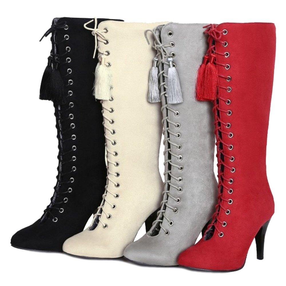Smilice Damen Trendige Langschaft Stiefel mit Hohem Absatz Absatz Absatz Sexy Stiefel 73c81a
