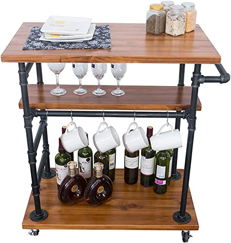 GWH Industrial Rolling Bar Carts for The Home,Kitchen Carts on Wheels, Serving Cart with Wheels,Small Portable Kitchen Island,Wine Liquor Tea Beverage Cart,Butcher Block Table Coffee Cart Station