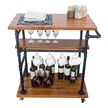GWH Industrial Rolling Bar Carts for The Home,Kitchen Carts on Wheels,  Serving Cart with Wheels,Small Portable Kitchen  Island,Wine/Liquor/Tea/Beverage ...