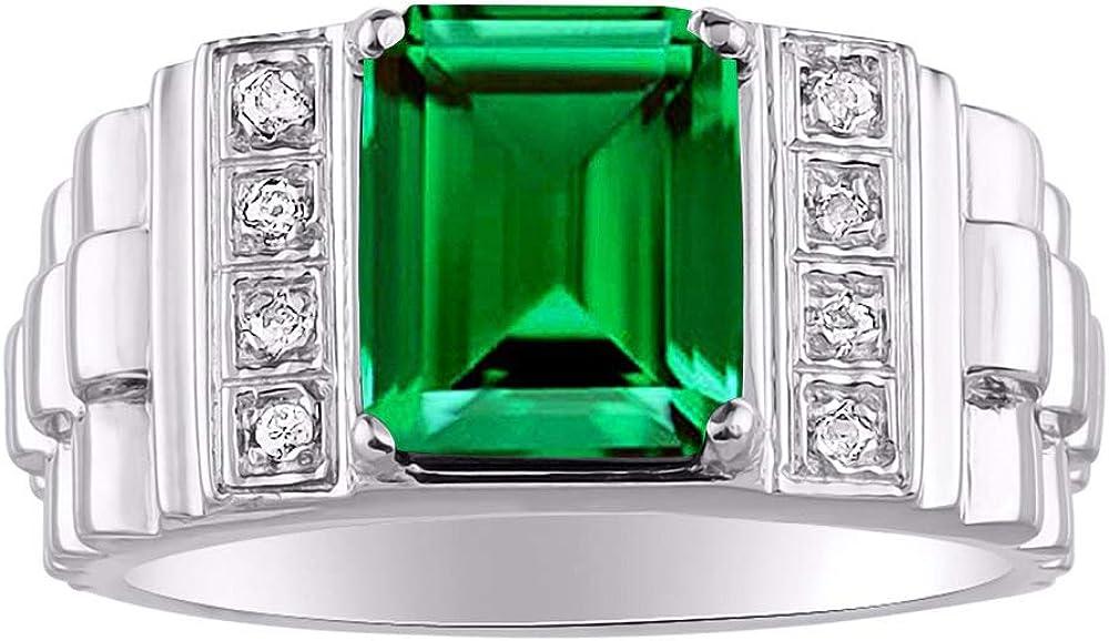 RYLOS Anillo para hombre con piedra preciosa de corte esmeralda y diamantes brillantes genuinos en oro blanco de 14 quilates – 10 x 8 mm – Estilo de diseñador