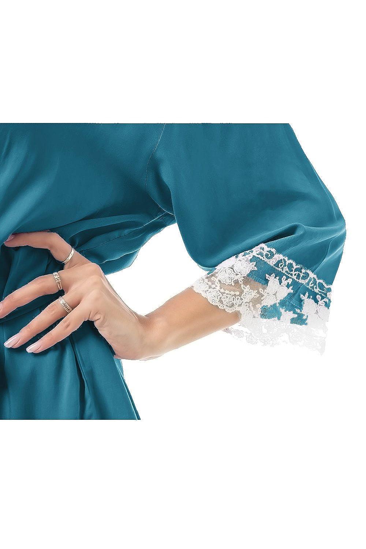 FISOUL Womens Sleepwear Robe Lace Trim Soft Kimono Cotton Hotel Spa Bathrobe Short Nightgown