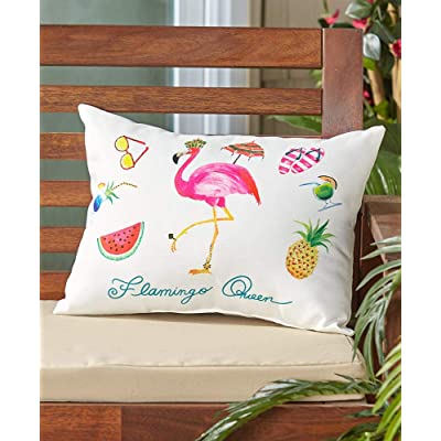 LTD. Indoor/Outdoor Summer Fun Pillow, Flamingo: Home & Kitchen