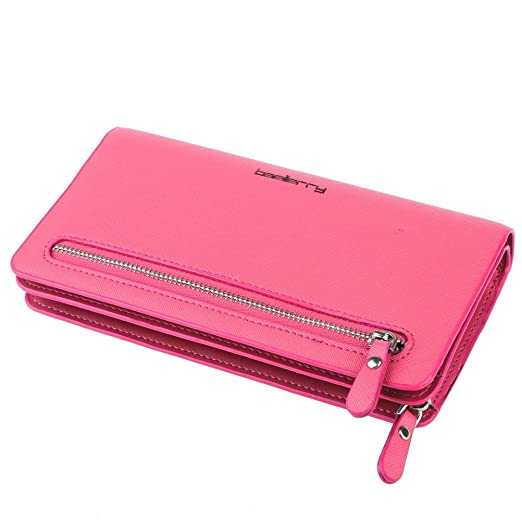 e211b630048e BaoLan Women Leather Credit Card Wallets to Organize Your Cash and Passport  with Removable Wristlet Strap