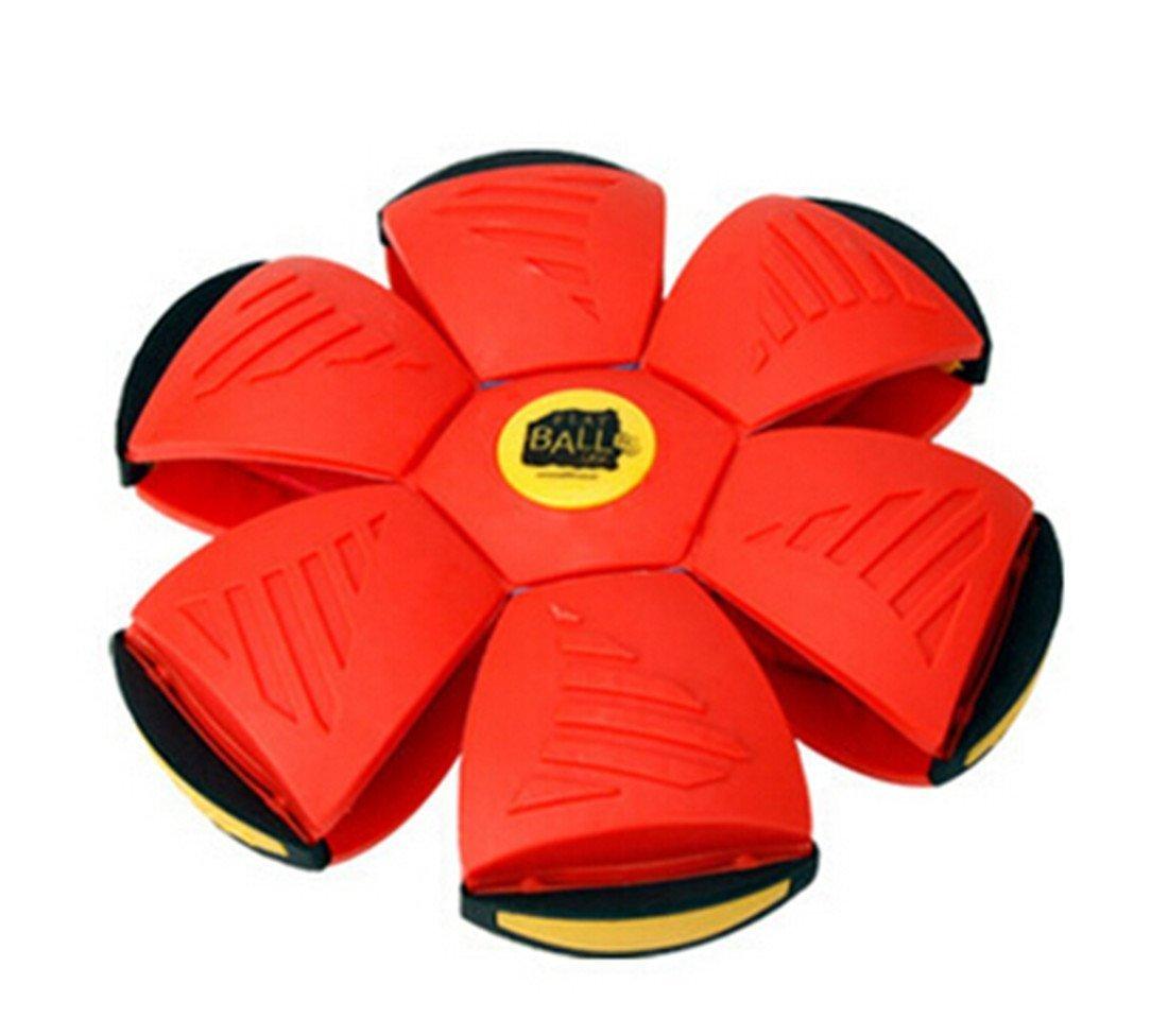 YunhuaアウトドアフリスビークリエイティブおもちゃHealthy Flying Saucerボール変形ボールマジックフラッシュFlying Discs Entertainment Sprot  レッド B01DIITOC0