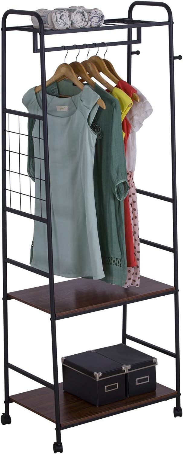 eSituro Stand Appendiabiti da Terra Portabiti in Acciaio da Ingresso con Scarpiera Autoportante Salvaspazio Nero SGR0059