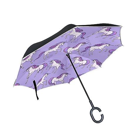 COOSUN Unicornio púrpura del patrón de la capa doble del paraguas invertido inversa para el coche