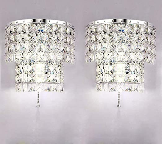 A Pair 2Pcs E12 Modern Crystal Mirror Stainless Steel Wall Light Wall Sconce New