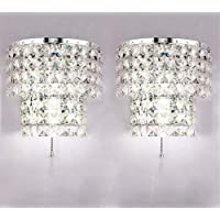 Crystal Wall Lights A Pair 2Pcs E14 Modern K9 Crystal Mirror Stainless Steel Wall Lights Wall Lamps Sconce Night Light…