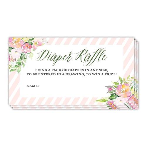 Amazon com: Blush Pink Diaper Raffle Tickets Girl Baby