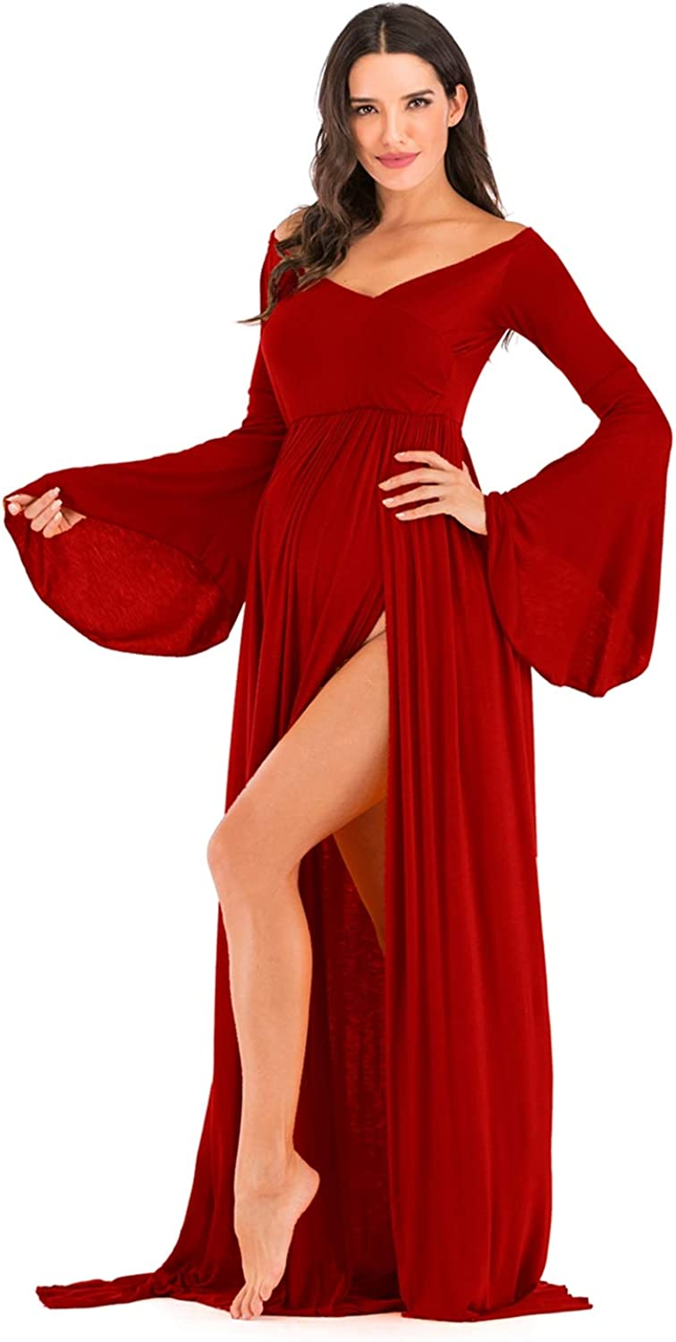 ZIUMUDY Maternity Off Shoulder Wraped Flare Sleeves Maxi Photography Dress Baby Shower Dress