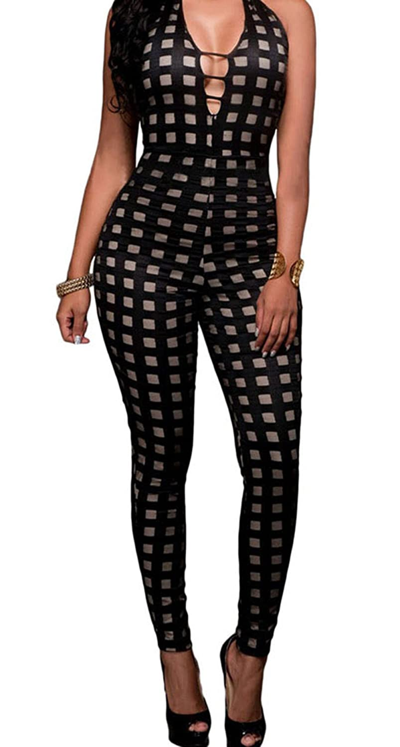 PEGGYNCO Womens Black Nude Illusion Checkered Jumpsuit