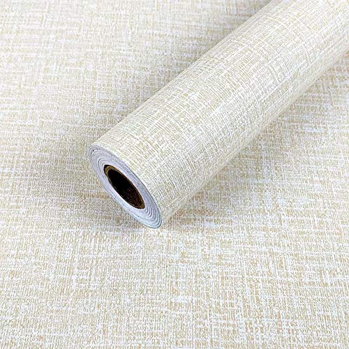 Beige Wallpaper Floral - Yancorp Faux Grasscloth Peel Stick Wallpaper Fabric Self-Adhesive Contact Paper Linen Removable Fireaplace Kitchen Backsplash Wall Stickers Door Sticker Counter Top Liners (15.7