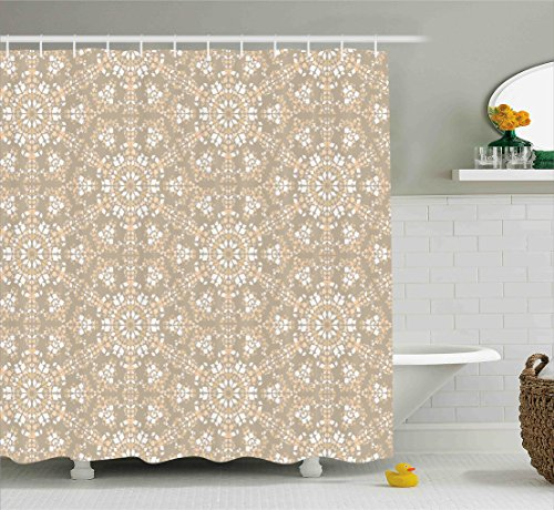 Ambesonne Mosaic Shower Curtain, Antique Roman Time Inspired Rock Design with Circled Modern Lines Image Print, Fabric Bathroom Decor Set with Hooks, 75 Inches Long, Tan Peach - Roman Mosaics Bath