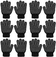 QKURT 6 Pairs Kids Anti-skid Knit Gloves, Winter Warm Stretchy Gloves Unisex Stretch Mittens Full Fingers Glov