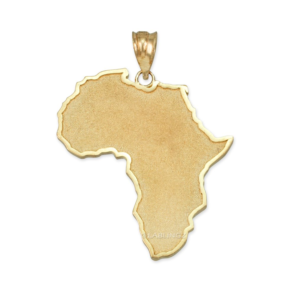14K Yellow Gold Africa Map Pendant