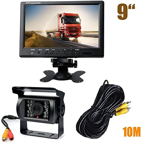 Waterproof 18 LED IR Night Vision Reversing Parking Backup Camera 9 LCD Monitor Car Rear View Kit for Bus Truck Monitorhome Long Vehicle