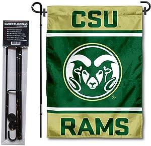 Colorado State Rams Garden Flag and USA Flag Stand Pole Holder Set