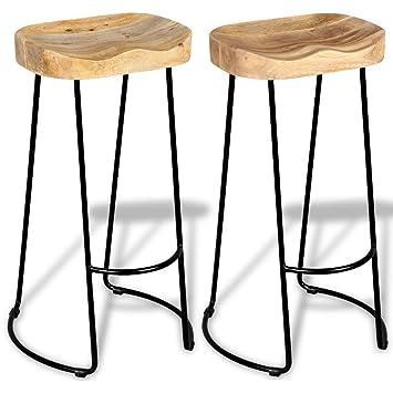 Festnight Wooden Breakfast Kitchen Bar Stools Chair Set Of 2
