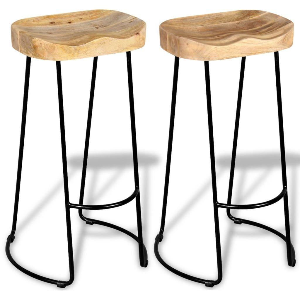 Festnight Wooden Breakfast Kitchen Bar Stools Chair Set of 9